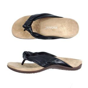 Vionic Black Leather Comfort Slip On Pippa Sandals